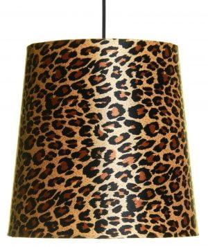 Riippuva leopardi kuvioinen kattovalaisin. Valaisimen materiaalina on laminoitu kangas.