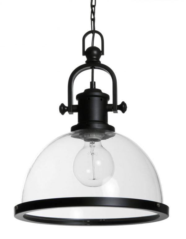 Lasikupuinen riippuvalaisin, jonka kantaosa ja kuvun alareuna on mustasta metallista. Valaisimen alaosa on avoin. Valaisin riippuu ketjun varassa.