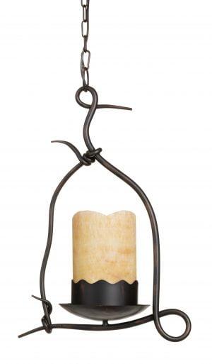 Metallinen, riippuva kattovalaisin. Valaisin on väriltään ruskea ja keltaisen kupuosan materiaali on kivi.
