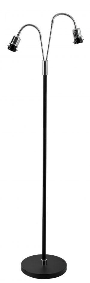 Musta lattiavalaisin, jossa on suora runko ja kaksi taivuteltavaa, kromin väristä vartta. Pohja on pyöreä.
