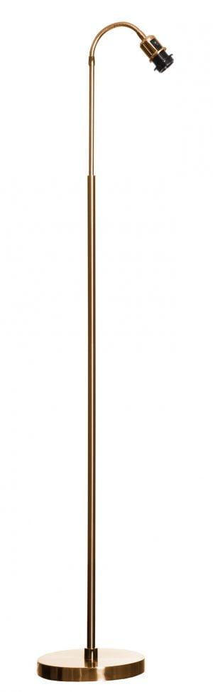 Väriltään antikmessinkinen lattiavalaisin, jossa on suora runko ja taivuteltava varsi. Pohja on pyöreä.