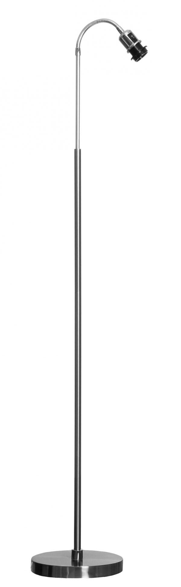 Harjatun teräksen värinen lattiavalaisin, jossa on suora runko ja taivuteltava varsi. Pohja on pyöreä.