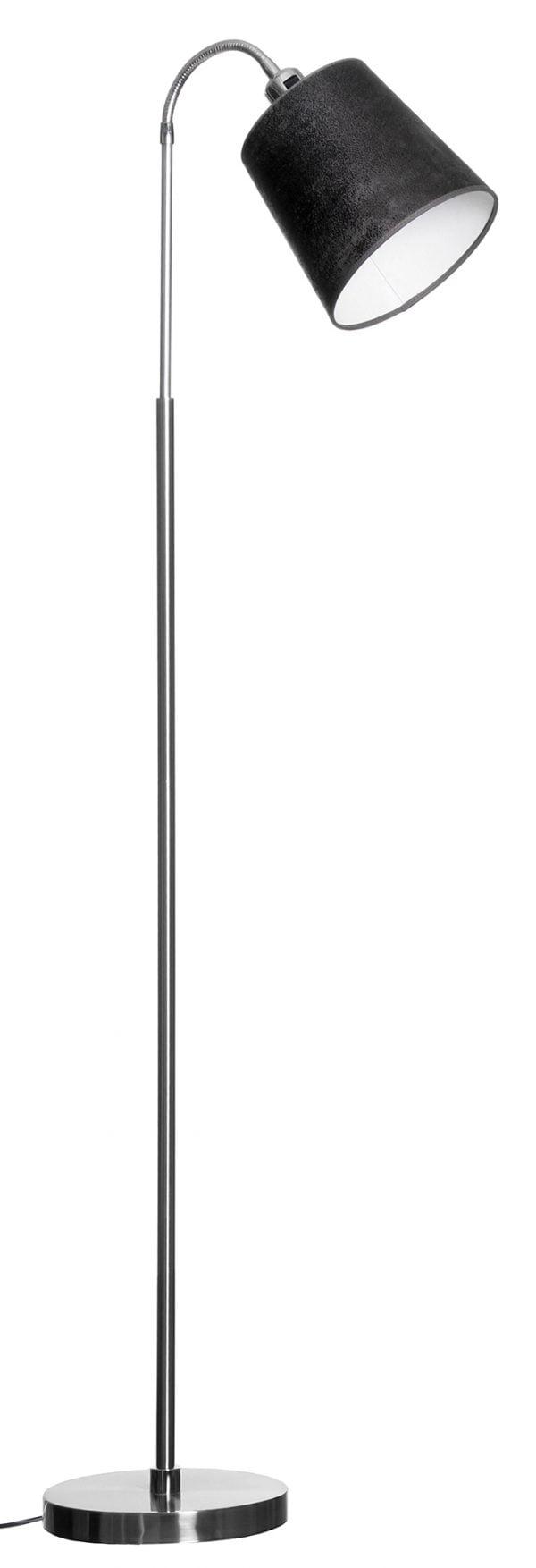 Harjatun teräksen värinen lattiavalaisin, jossa on suora runko ja taivuteltava varsi. Varren päässä on musta varjostin. Pohja on pyöreä. Johto on musta.