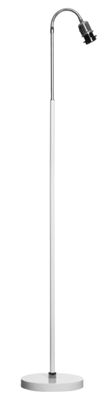 Lattiavalaisin jossa on kromin värinen taivuteltava varsiosa. Jalkalamppu on materiaaliltaan metallinen ja sen väri on valkoinen.