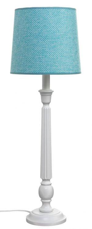 Puinen lampunjalka jonka väri on valkoinen. Varjostimen väri on turkoosi.
