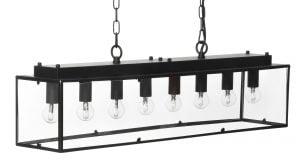 Kulmikas metallinen musta biljardivalaisin, kylkien materiaali lasi. Valaisimessa on kahdeksan valopistettä ja se on 120 cm pitkä.