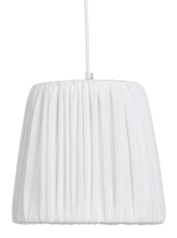 Valkoinen, ohuesta kankaasta valmistettu riippuvalaisin. Kangas on kevyesti vekitetty. Varjostin levenee hieman ylhäältä alas.