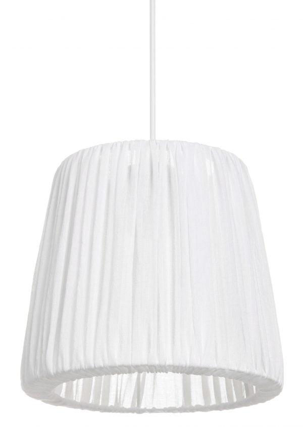 Valkoinen, ohuesta kankaasta valmistettu riippuvalaisin. Kangas on kevyesti vekitetty, alaosassa on pieni sisäänveto. Kankaasta näkyy kevyesti läpi.