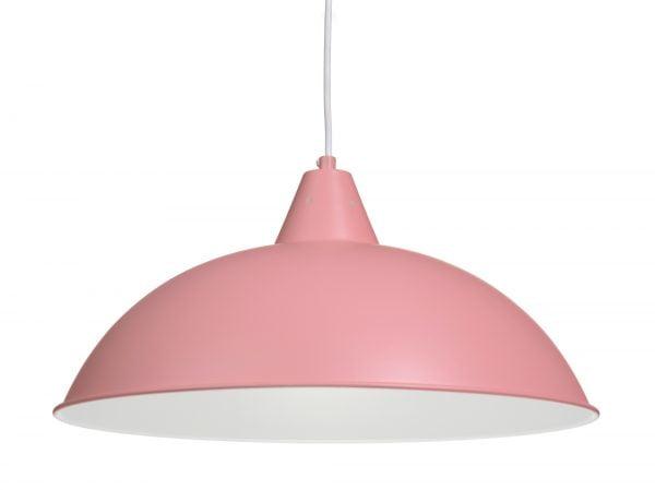 Metallinen, riippuva kattovalaisin. Valaisin on väriltään pinkki, valaisimen sisäpuoli on valkoinen.