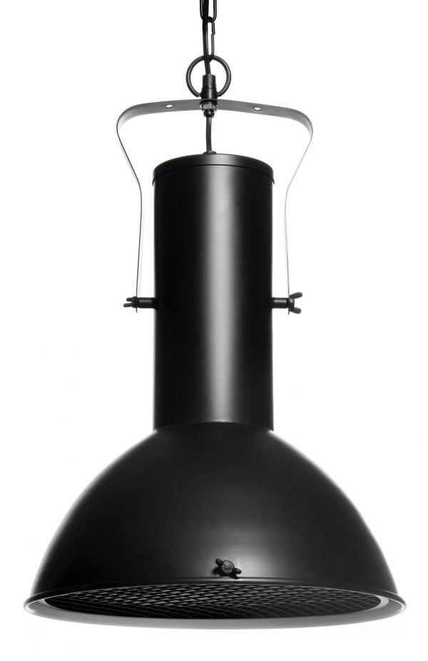 Riippuva kattovalaisin. Valaisin on metallinen ja sen väri on musta. Valaisimen sisäpuolen väri on valkoinen. Alapuolella metalliverkko.
