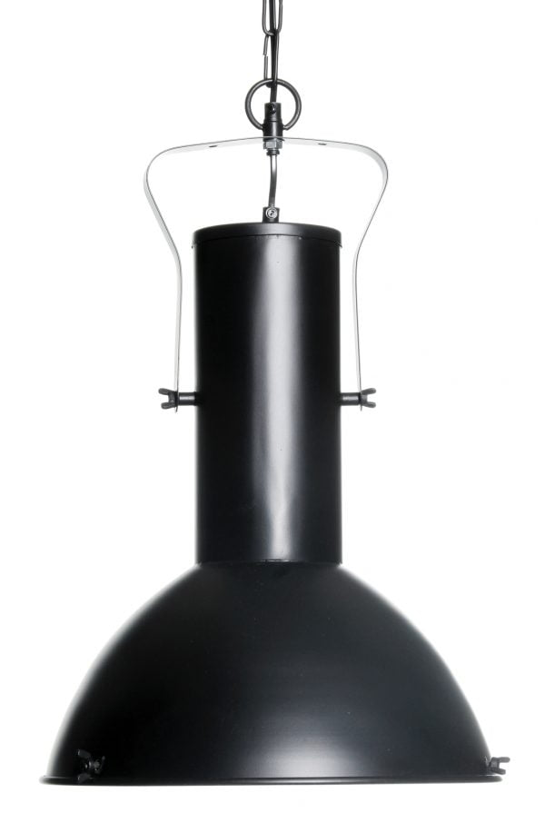 Riippuva teollisuustyylinen kattovalaisin. Valaisin on metallinen ja sen väri on musta.