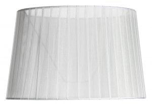 Valkoisella taustalla valokuva lampunvarjostin, joka levenee suorassa linjassa ylhäältä alaspäin. Varjostimen ylä- ja alareunat ovat kaarella. Varjostimen pohjaväri on valkoinen. Kangas on hieman läpikuultava, ja varjostimen kiinnitysteline on nähtävissä kankaan läpi. Kangas on kevyesti vekitetty, joka luo pystyraitaista ilmettä ja tuo varjostimeen sävyjä. Varjostin on kuvattu edestä päin.