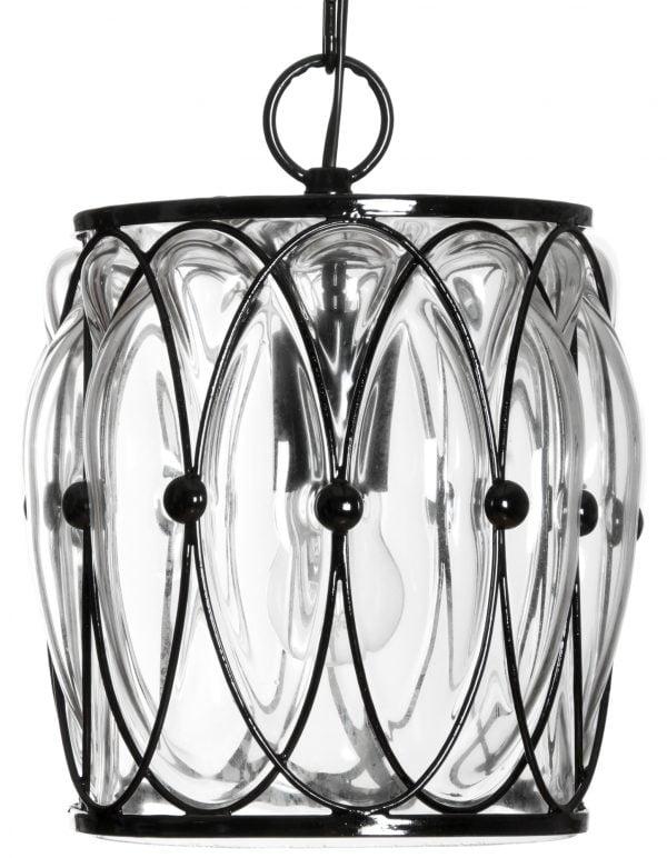 Riippuva, lasinen kattovalaisin, jossa on musta kehikko jonka sisällä on kirkas lasi. Valaisin on väriltään kirkas.