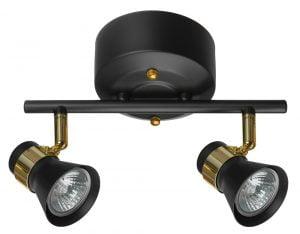 Metallinen spottivalo, värinä musta ja messinki. Kohdevalo jossa on kaksi valopistettä.