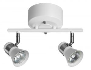 Metallinen spottivalo kattoon, värinä valkoinen ja kromi. Kohdevalo jossa on kaksi valopistettä.