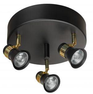 Metallinen, pyöreä spottivalaisin, värinä musta ja messinki Kohdevalaisin jossa on kolme valopistettä.
