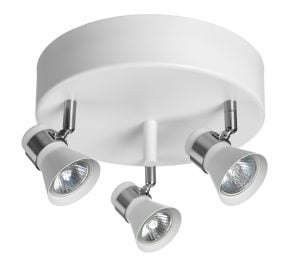 Metallinen, pyöreä spottivalo kattoon, värinä valkoinen ja kromi. Kohdevalo jossa on kolme valopistettä.