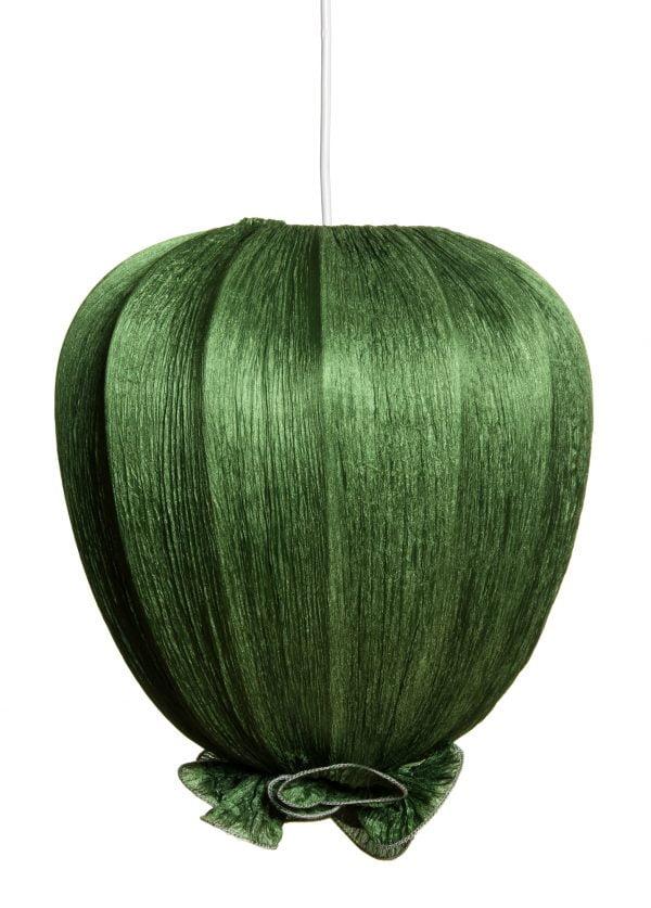 Vihreä kangasvalaisin, joka on valmistettu rypytetystä kreppikankaasta. Valaisin on tulppaanin muotoinen ja sen alaosassa on koristeellinen rypytys.