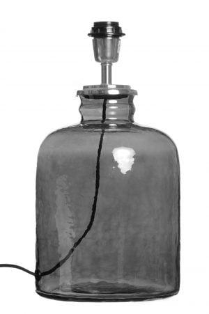 Lasinen lampunjalka jonka väri on savunharmaa.