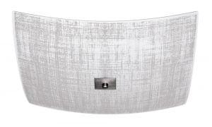 Muodoltaan neliskulmainen lasinen plafondi. Kattoplafondi jossa on kolme valopistettä. Koristeena ruutu kuvio.