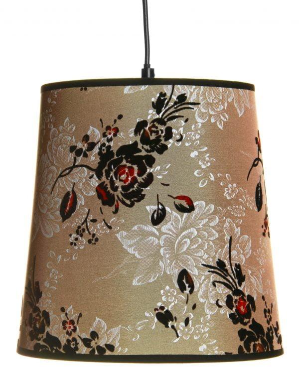 Riippuva, kirjava kattovalaisin jossa on kukka kuvio. Valaisimen materiaalina on laminoitu kangas.