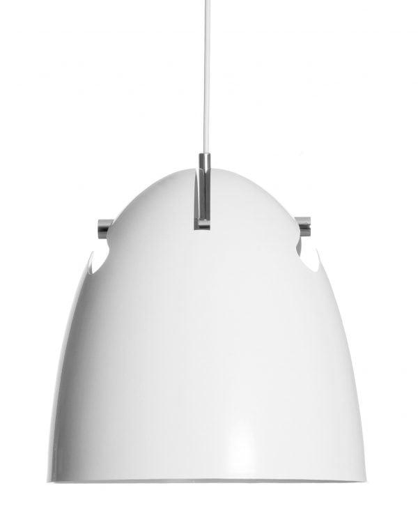 Metallinen, riippuva kattovalaisin. Valaisin on väriltään valkoinen. Varjostimen kannatinosan väri on kiiltävä kromi.