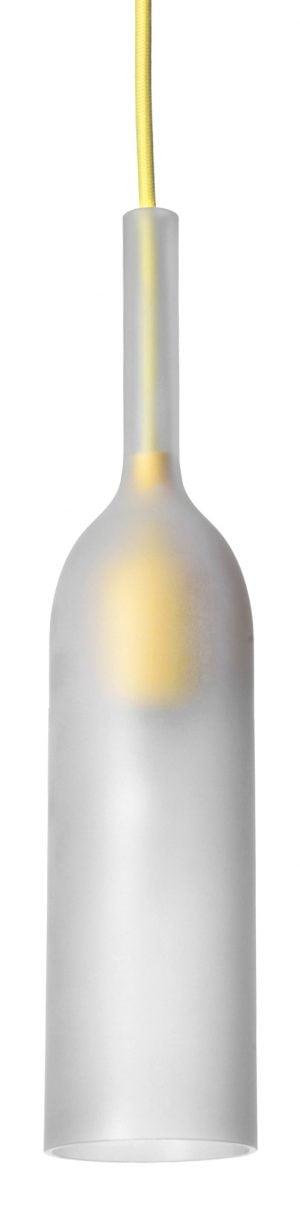 Pullon muotoinen riippuvalaisin, jonka kupu on etsattua lasia. Valaisimessa on keltainen, kangaspäällysteinen johto ja saman värinen sähköosa, joka kuultaa lasin läpi. Valaisin on avonainen alaosasta.