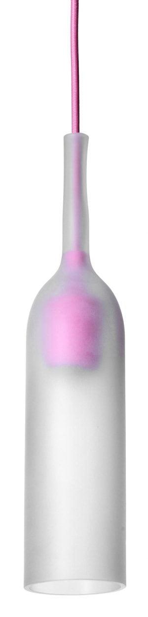 Pullon muotoinen riippuvalaisin, jonka kupu on etsattua lasia. Valaisimessa on vaaleanpunainen, kangaspäällysteinen johto ja saman värinen sähköosa, joka kuultaa lasin läpi. Valaisin on avonainen alaosasta.