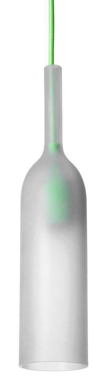 Pullon muotoinen riippuvalaisin, jonka kupu on etsattua lasia. Valaisimessa on vihreä, kangaspäällysteinen johto ja saman värinen sähköosa, joka kuultaa lasin läpi. Valaisin on avonainen alaosasta.