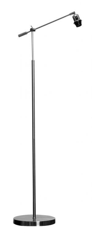 Harjatun teräksen värinen lattiavalaisin, jonka rungon yläpääss on vipuvarsi. Varren päässä on taivuteltava kanta.
