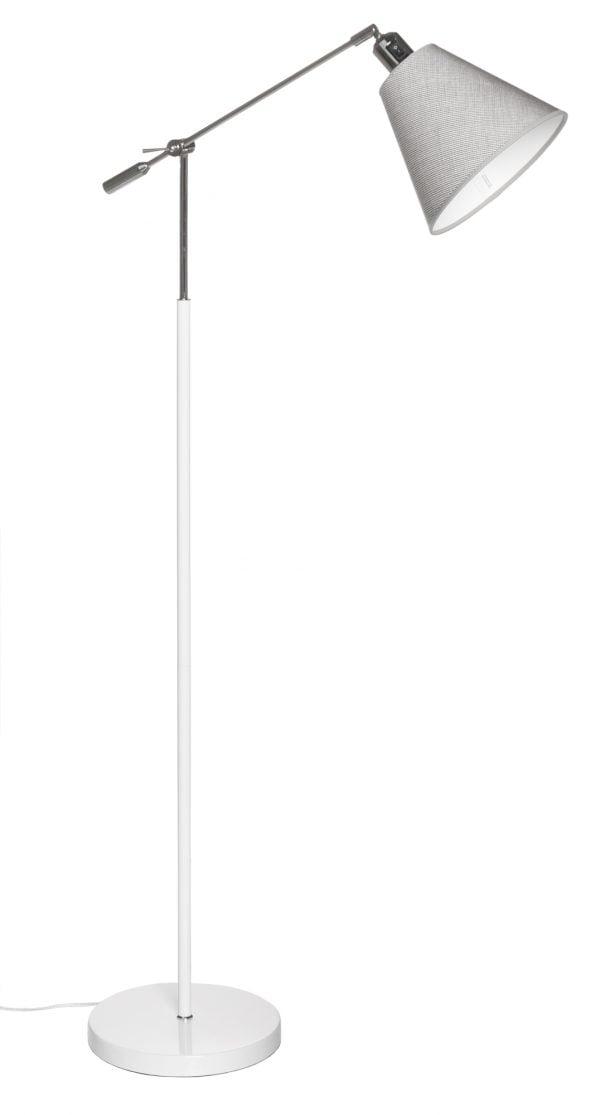Lattiavalaisin jossa on käänneltävä kromin värinen vipuvarsi. Jalkalamppu on metallinen ja sen väri on valkoinen. Harmaa kippivarjostin on laminoitua kangasta