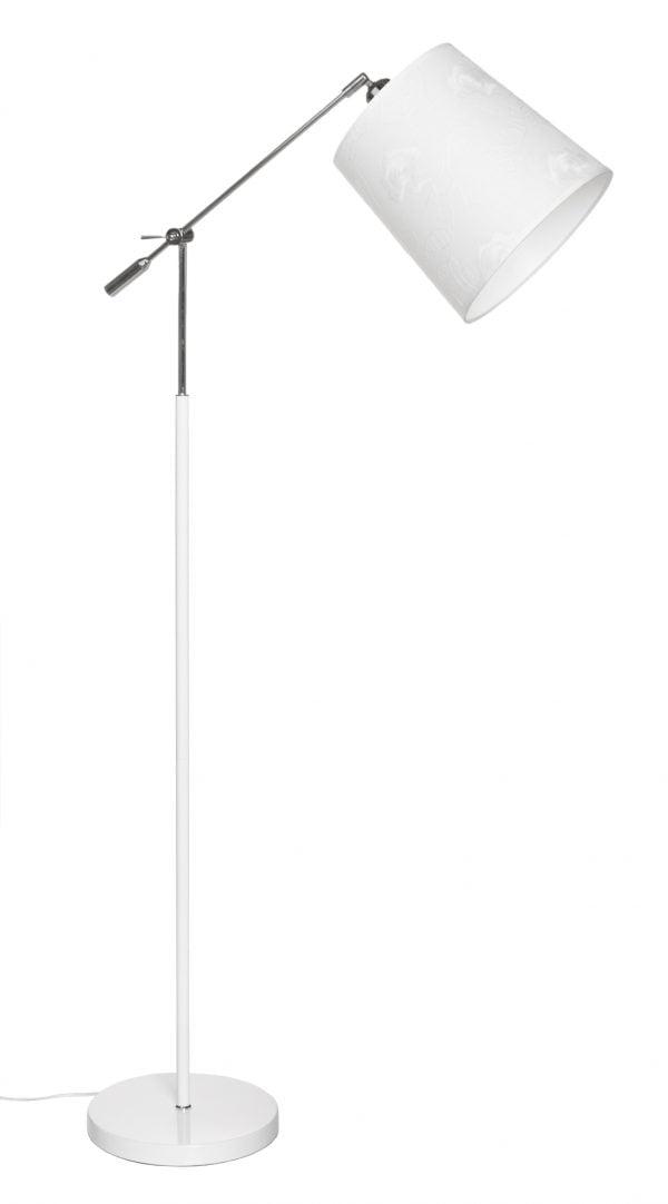 Lattiavalaisin jossa on käänneltävä kromin värinen vipuvarsi. Jalkalamppu on metallinen ja sen väri on valkoinen. Kippivarjostin on laminoitua kangasta.