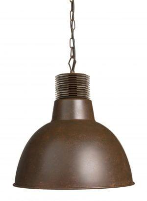 Metallinen, teollisuustyylinen riippuva kattovalaisin. Valaisin on väriltään ruskea.