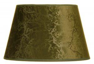 Yksivärinen lampunvarjostin jonka väri on vihreä. Varjostin on materiaaliltaan laminoitua kangasta.