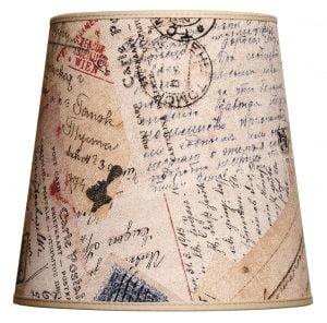 Kippivarjostin jonka materiaali on laminoitu kangas. Varjostimessa on postikortti kuvio.