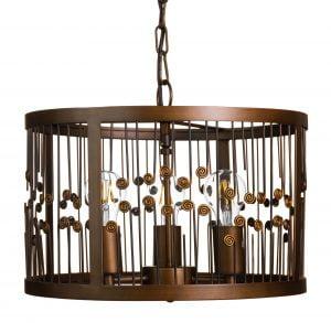 Metallinen, riippuva kattovalaisin. Valaisin on väriltään ruskea ja sen materiaalina osittain on metallilanka.