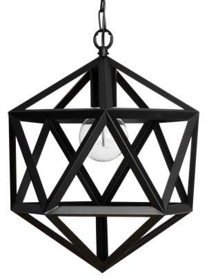 Musta riippuvalaisin, jossa on kuusikulmainen, kantikas varjostin. Varjostin on tehty kantikkaasta putkesta, ja sen rakenne on avoin.