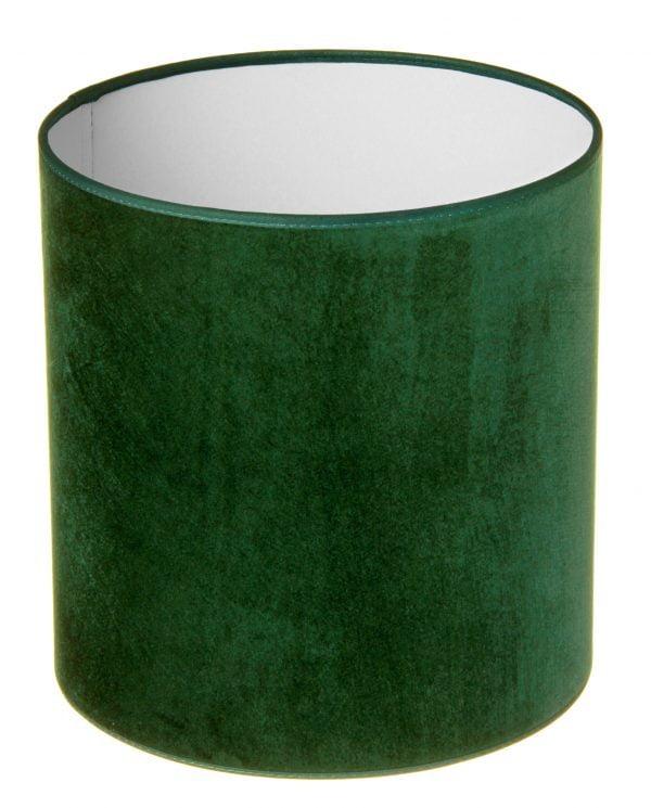 Valkoisella taustalla valokuva sylinterin muotoisesta varjostimesta, jonka ylä ja alareuna ovat saman levyiset. Varjostimen ylä- ja alareunat ovat kaarella tuoden esiin sen pyöreää muotoa. Varjostimen väri on tumman vihreä, ja sen kuosi on yksivärinen. Valon ja varjon vaihtelut tuovat sen sävyihin vaihtelua. Varjostimen ylä- ja alareunoissa on tumman vihreät kanttausnauhat. Varjostin on kuvattu yläviistosta, jolloin sen valkoinen sisäpinta on näkyvissä.