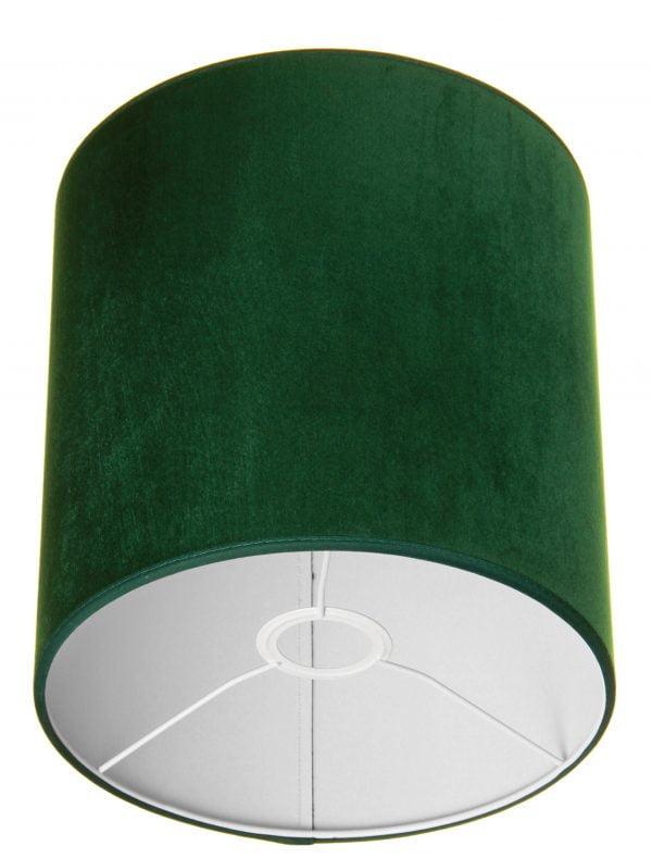 Valkoisella taustalla valokuva sylinterin muotoisesta varjostimesta, jonka ylä ja alareuna ovat saman levyiset. Varjostimen ylä- ja alareunat ovat kaarella tuoden esiin sen pyöreää muotoa. Varjostimen väri on tumman vihreä, ja sen kuosi on yksivärinen. Valon ja varjon vaihtelut tuovat sen sävyihin vaihtelua. Varjostimen ylä- ja alareunoissa on tumman vihreät kanttausnauhat. Varjostin on kuvattu alaviistosta, jolloin sen valkoinen sisäpinta sekä valkoinen kiinnitysteline ovat näkyvissä.