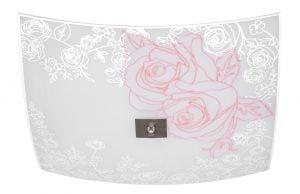 Muodoltaan neliskulmainen lasinen plafondi. Kattoplafondi jossa on kolme valopistettä. Koristeena ruusu kuvio.