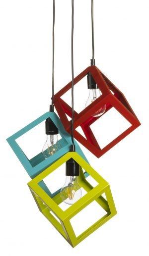 Metallinen, riippuva kattovalaisin. Valaisin on väriltään punainen, sininen ja vihreä. Kattokuppi on musta. Valaisimessa on kolme lampunkantaa.
