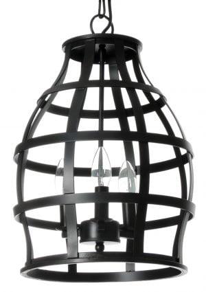 Musta, metallinauhasta valmistettu kattokruunu, jonka runko on avoin. Valaisimesa on kolme valopistettä.