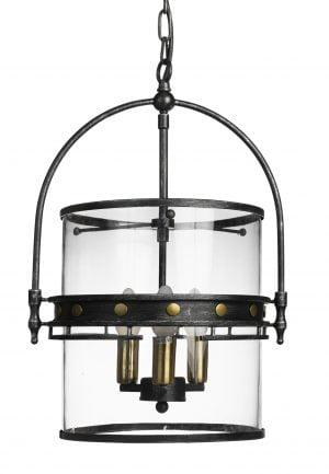 Kattokruunu jossa metallikehikko ja sen sisällä kirkas lasikupu. Valaisimen rungon väri on antikhopea. Valopisteitä on kolme.