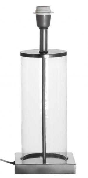 Pöytävalaisin jonka metallinen sähköosa on väriltään kromi. Lampunjalka jonka kupuosan materiaali on kirkas lasi.