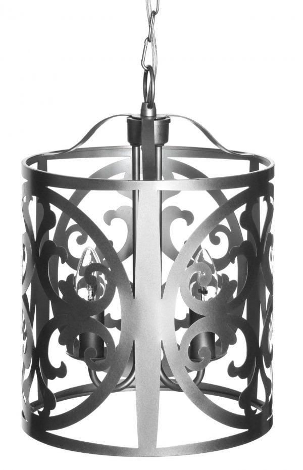 Hopean värinen, metallinen riippuva kattovalaisin. Rungossa on leikattu ornamenttikuviointi.