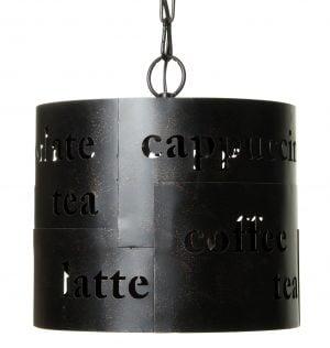 Riippuva kattovalaisin. Valaisin on metallinen ja sen väri on tummanruskea. Koristeena metalliin leikattuna sanoja.