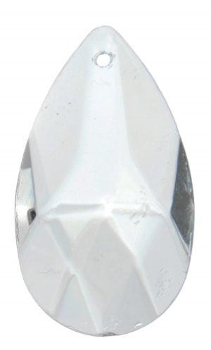 Kirkas kristalli, joka on pisaran muotoinen. Pinnassa on fasettihionta.