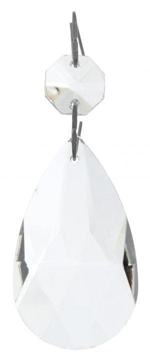 Kirkas kristalliketju, jossa ylinnä on kahdeksan kulmainen kristalli, josta riippuu teräksen värisellä ripustimella suurempi, pisaran muotoinen kristalli.