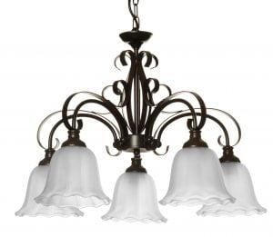 Tumman ruskea kattokruunu, jonka runko on koristeellisen koukeroinen. Kruunussa on viisi kantaa, joiden päissä on alaspäin osoittavat, etsatut lasit.