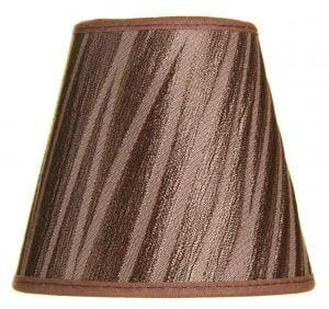 Ruskea kruunuvarjostin jonka materiaali on laminoitu kangas.
